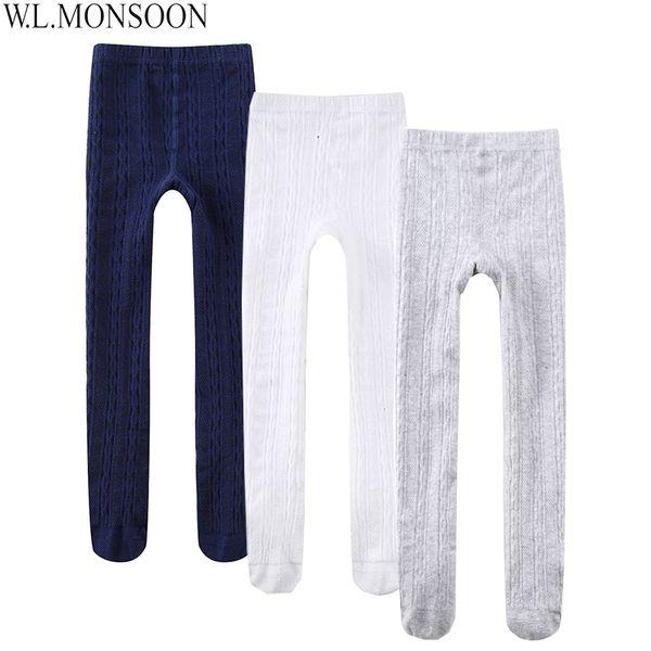 W.L.MONSOON 3pcs/Lot Baby Girls Leggings Cotton Skinny Children Pantyhose Solid Color Trousers Kids Leggings for Girls Pants