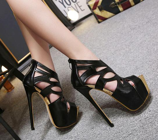 Sexy Black Strappy Cut Out Platform High Heels Prom Shoes Nightclub Wear Designer Shoes 16cm 2018 Summer size 34 to 40