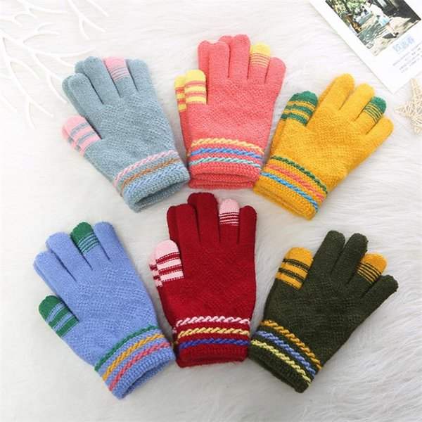 Fashion Winter Children Gloves Knitted Glove Cut Cat Pattern gloves Kids Jacquard Students Five Fingers Gloves Mittens