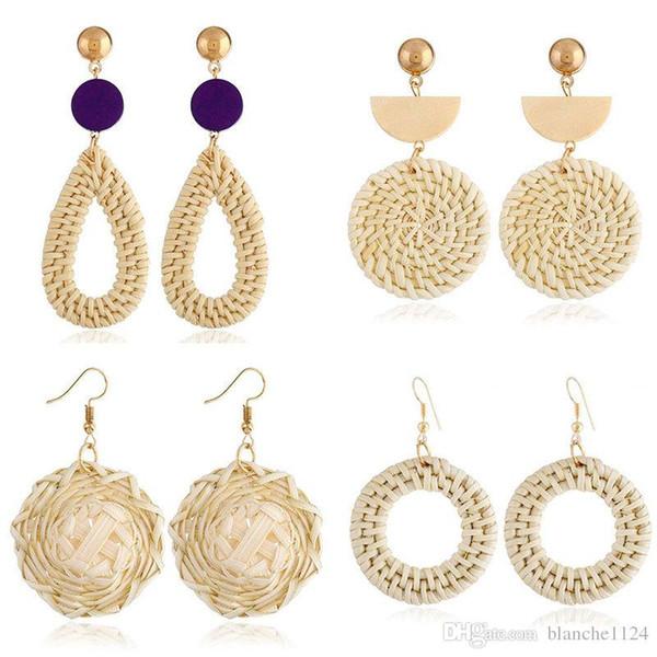 8 styles Vintage géométrique Main Drop boucles d'oreilles ethnique bambou en bois tricoté Dangle Lustre tissage boucles d'oreilles Hoop Drop Shipping