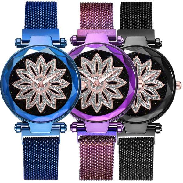 2019 тенденция цветочным узором женская мода сплав металлическая сетка звездное небо магнитные пряжки часы оптом женские повседневные платья часы