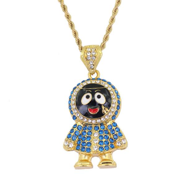 Hip Hop Gold Silver Cartoon Children CZ Crystal Pendant Necklace Jewelry 24 Inch Twist Chain