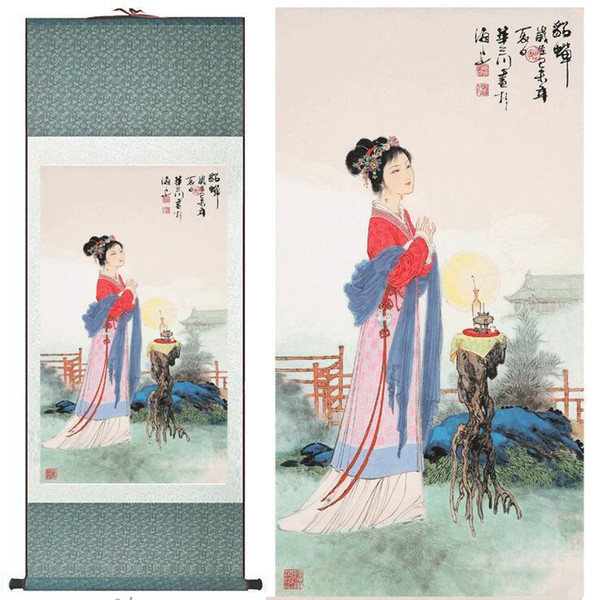Traditional Chinese Pretty Girls Painting Home Office Decoration Beautifull Women Painting Diaochan Painting