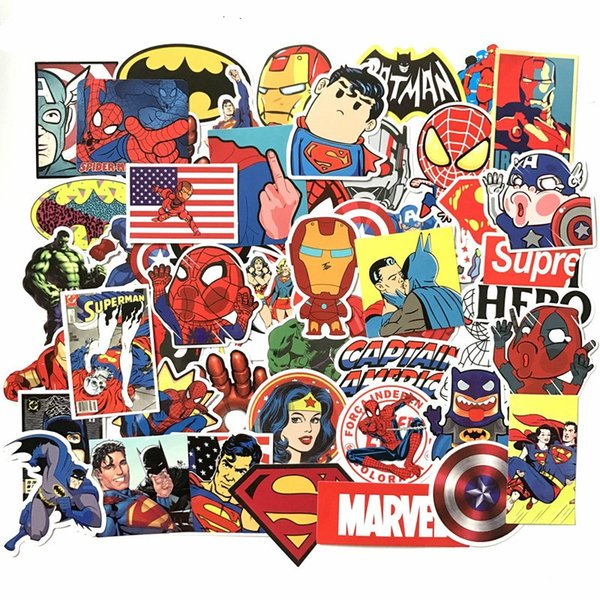 50Pcs/Lot Marvel Anime Classic Stickers Toy For Laptop Skateboard Luggage Decal Decor Funny Iron Man Spiderman Stickers For Kids 50 set