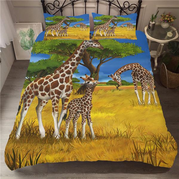 Un Ensemble De Literie Imprimé 3D Housse De Couette Ensemble De Bande Dessinée Animal De Girafe Textiles À La Maison pour Adultes Literie avec Taie D'oreiller # CJL25