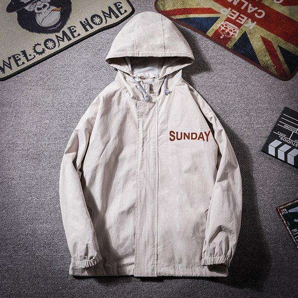 Chaquetas de los hombres de impresión carta con capucha de mezclilla otoño de los hombres japoneses streetwear hiphop chaqueta de la vendimia abrigo cazadora suelta de gran tamaño