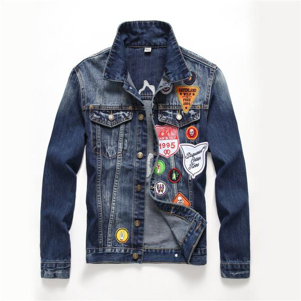 Homens Denim Jacke Hip Hop Dos Homens Jaquetas e Casacos dos homens Bandeira inglesa remendo projeto rebite jaqueta jaqueta Casual azul escuro lavado denim casaco