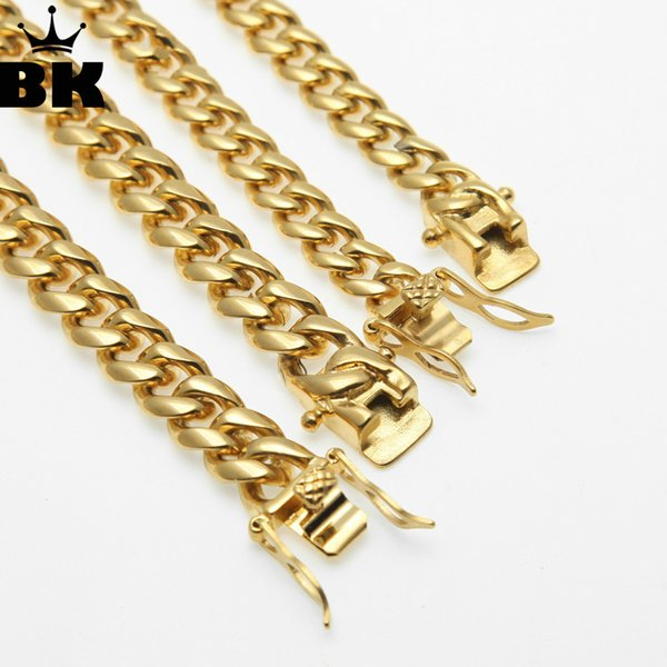 8mm/10mm/12mm/14mm Stainless Steel Curb Cuban Link Chain Hiphop Punk Heavy Gold Silver Plated Cuban Necklace For Men 30inch J190625