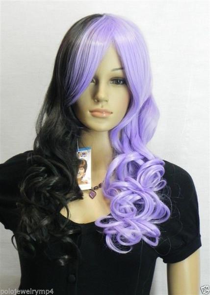 Yüksek Kaliteli Sentetik kraliçe Yeni siyah kadınlar için mavi Karışık kıvırcık peruk peruk
