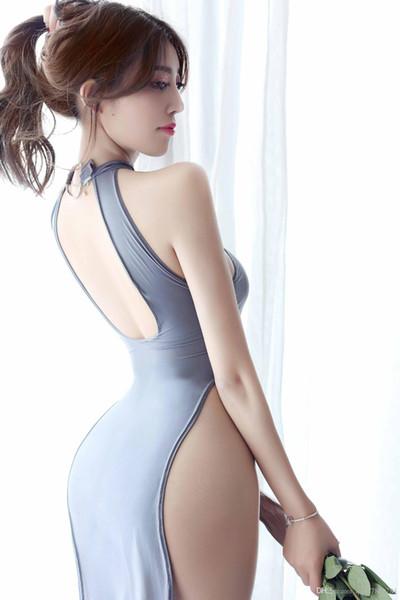 2019 Ropa interior sexy Pijama Tentación uniforme Largo Cheongsam Colgante Cuello nylon color10 talla única