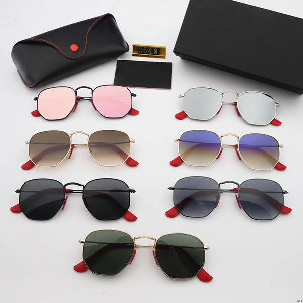 3548 Hexagonal Sunglasses Hexagon Metal Frame Outdoor Sports Sun Glasses Brand Colorful Glasses with box
