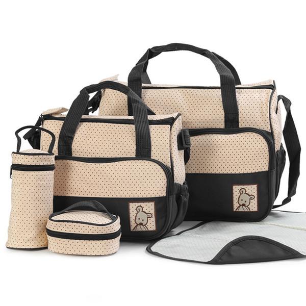 5 Pcs Baby Nappy Changing Bags Set, Large Handbag Diaper Changing Mat Bottle Holder(Khaki)