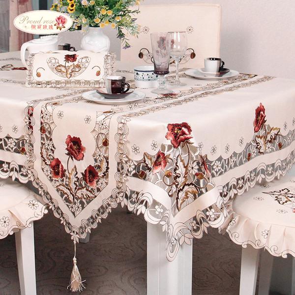 Proud Rose Exquisite Embroidery Hollow-out Chair Cover tovaglia Ellipse tovaglia rurale Runner Round Tovaglia