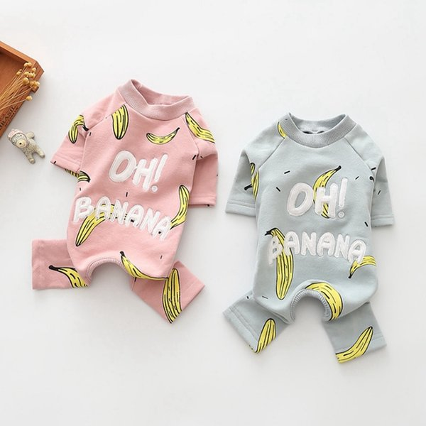 Dog Clothes Cotton Pet Jumpsuit Banana Printed Dogs Pajamas Cute Puppy Coat Winter Pets Dog Clothing 2 Colors YW1692