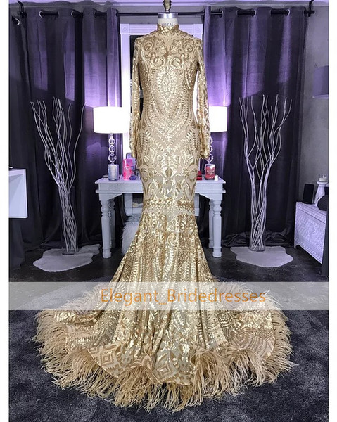 Sparkle Gold Mermaid Prom Dresses Feather Long Sleeve Evening Wear Gowns Arabian Sexy Black Girl Party Prom Dress Designer robe de soiree