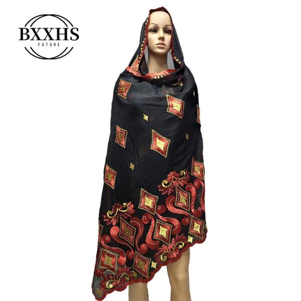 2019 donne Sciarpe Nuovo africano del ricamo musulmano grande sciarpa di cotone morbido per scialli pashmina avvolge Y200103