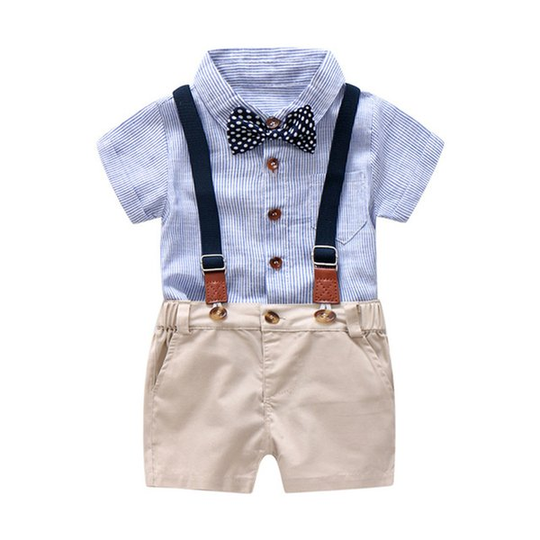 Blue and White Striped Romper Clothes Set For Baby Boy Summer Suit With Bow Toddler Kid Bodysuit Set Infant Boy Clothing