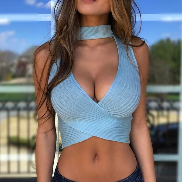 Women's Sexy Halter Knitted Short Vest Tops European And American 2019 Summer Women Clothes Girls Sleeveless Slim Tanks Top Q190426