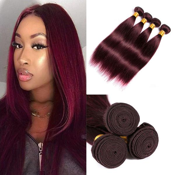 Extensions Cheveux Vierge malaisienne Bourgogne vague droite à vendre 99j Human Hair Weave onduleux Vin rouge cheveux raides Weave