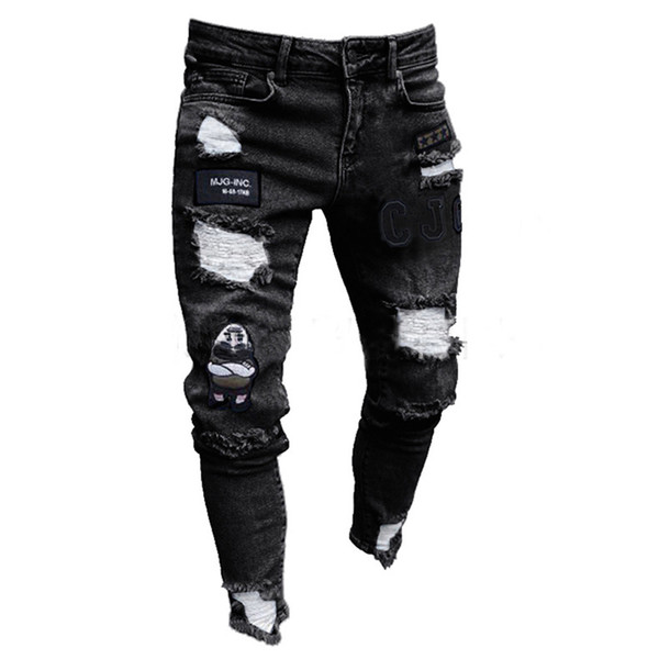 3 styles men stretchy ripped skinny biker embroidery print jeans destroyed hole taped slim fit denim scratched jean