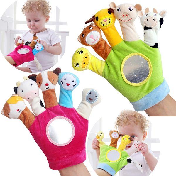 Karikatür Hayvan Kuklaları Set Mini Peluş Oyuncak Biyolojik Çocuk Bebek Bebek Çocuk Eğitim El Parmakları Oyuncak