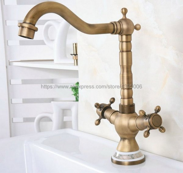 Basin Faucets Antique Bronze Brass Bathroom Sink Faucet 360 Degree Swivel Dual Handle Kitchen Washbasin Mixer Taps Bnf603