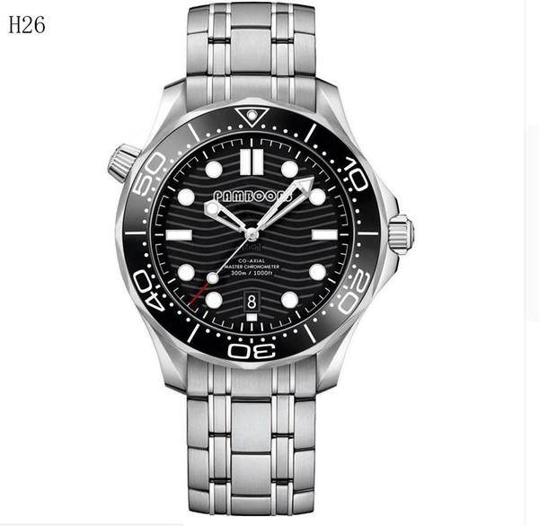 New Men Relógio Mecânico Automático Prata Preto Azul Cinzento James Bond 007 Ceramic cristal de safira Professional 300m