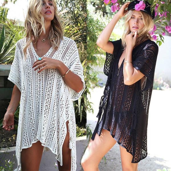 Nuevo Beach Cover Up Bikini Crochet Knitted Tassel Tie Beachwear Summer Swimsuit Cover Up Sexy See-through Beach Dress Envío gratis