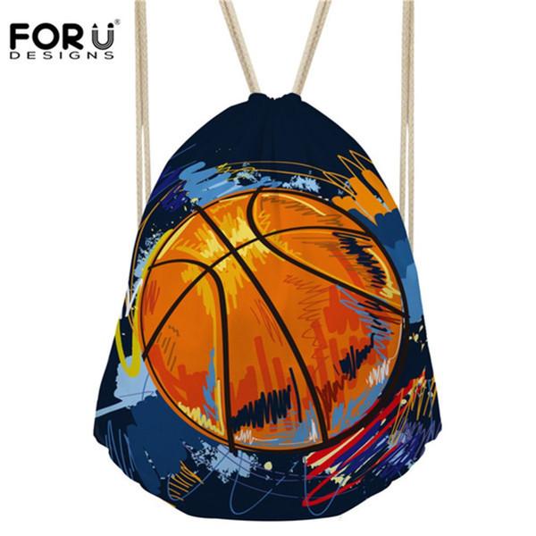 FORUDESIGNS Men's Drawstring Bag 3D Cool Basketball Print Casual School Bag For Boys Foot Ball Kid Kindergarten String Backpacks
