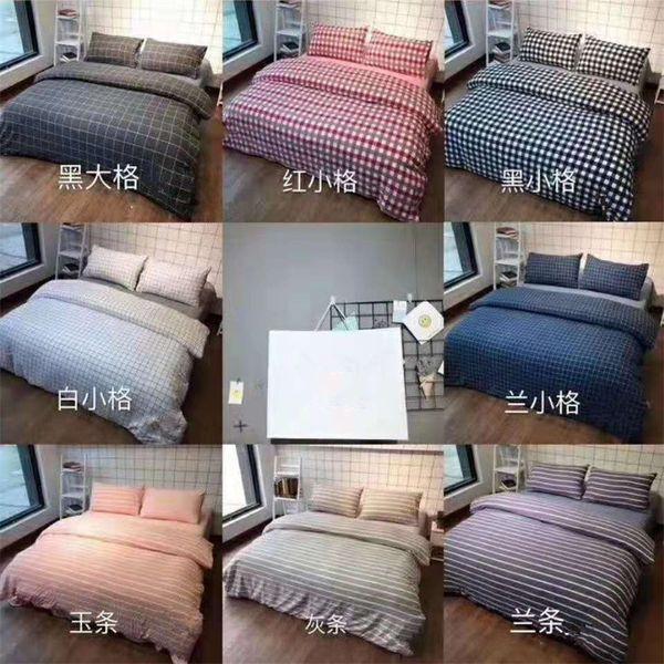 Letto in cotone lavato Set di trapuntini Super Soft Stripe in puro colore Set di biancheria da letto romantica fresca e semplice Tessile per la casa 48wlE1