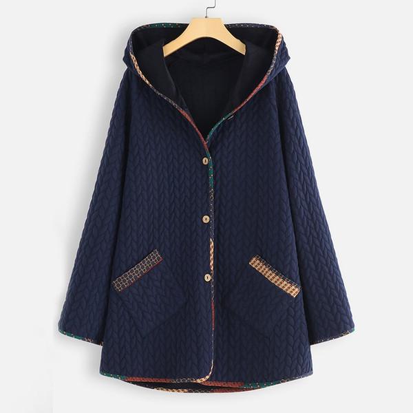 Plus Size Lady Pardessus Vestes d'hiver Sweats à capuche chaud femmes Manteaux Vintage capuche Parkas manches longues Bouton Manteau Vêtements Outwear