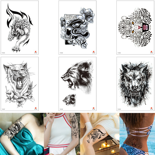 Black Temporary Animal Tattoo Leopard Wolf Lion Decal Design Waist Arm Leg Chest Body Art Tattoo Sticker For Male Female Makeup 3d Removable Remove