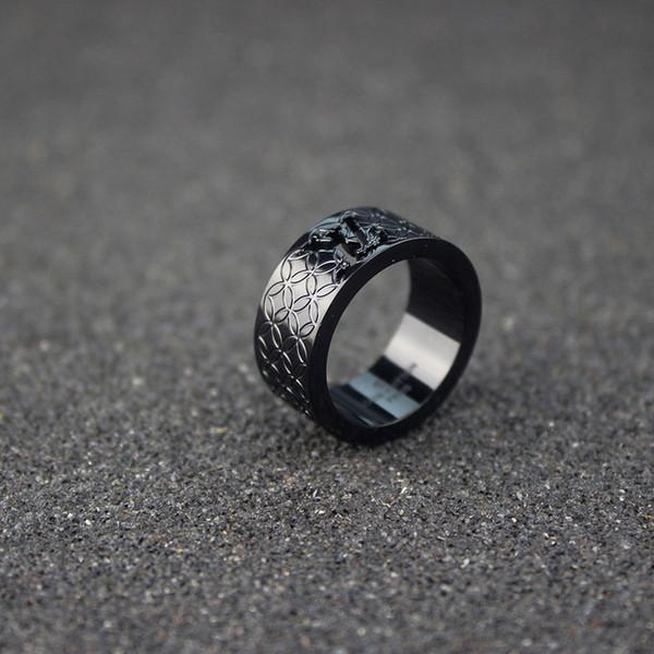 سوداء واسعة حزام الرجال فاخر مصمم مجوهرات هدية رجل حزب خواتم الزفاف الجوف