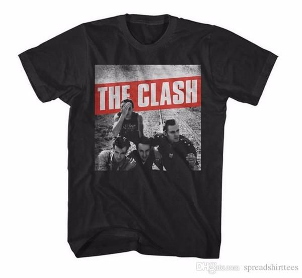 Estilo do verão Moda Swag T Shirts Men'S Curto Novo Estilo Tripulação Pescoço O Clash Camiseta