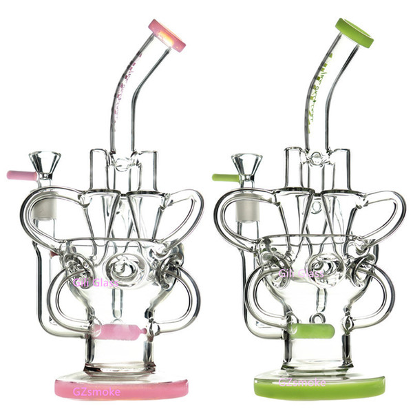 top popular Glass Bong Dab Rig Recycler Oil Rigs awesome triple cyclone inline arm heady bongs gear perc water pipes bowl quartz banger purple pipe 2021