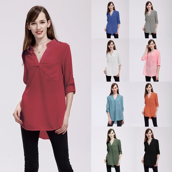 Women Loose Blouses Long Sleeve V Neck Daily Wear Front Pocket Design Natural Color Ladies Plus Size Chiffon Shirts Tops