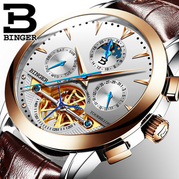 Luxury Switzerland Binger Brand Men Watch Male Self-wind Waterproof Stainless Steel Automatic Mechanical Gold Fashion Tourbillon J190614
