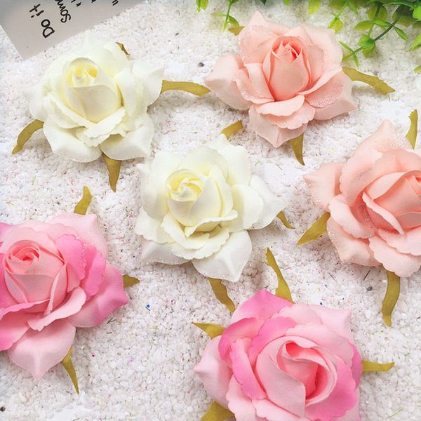 5 PCS/(7 cm) artificial silk gold rose flower heads home decoration/DIY wedding garland collage decorative artificial flowers C18112601