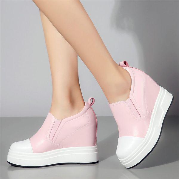 NAYIDUYUN 2019 Sapatos Casuais Mulheres Couro Genuíno Cunhas Sapatos De Salto Alto Sapatos Slip On Plataforma Oxfords Traseiras Do Punk Rasa