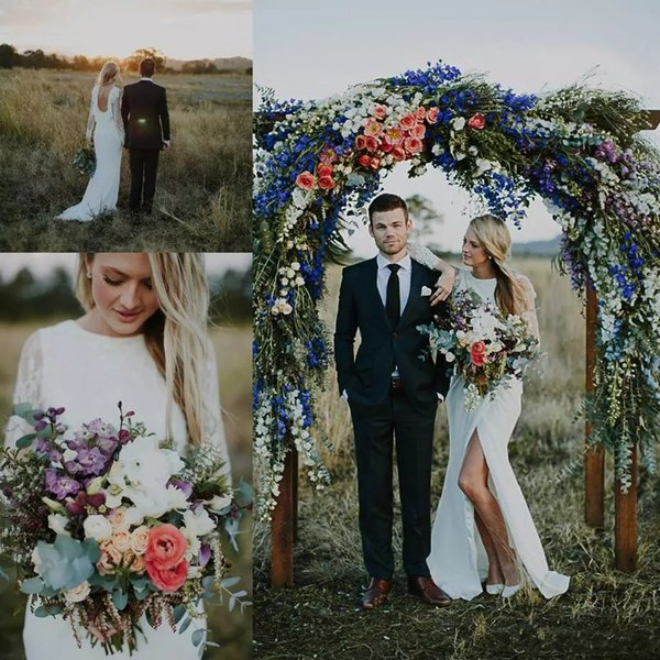 2018 Simple Lace Bohemian Wedding Dresses High Silt Maniche lunghe Backless Long Summer Boho Hippie Beach Western Abito da sposa Custom Made