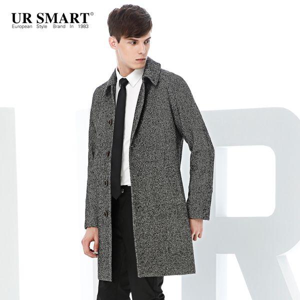 ursmart man cloth coat of long wool single-breasted men twill woolen cloth coat business men