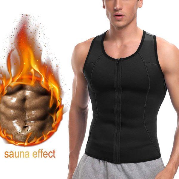 Mens Slimming Vest Moda Sólida Fitness Shaper Do Corpo Casual Zipper Bodybuilding Camisola Sem Mangas Masculino Bodysuit Top