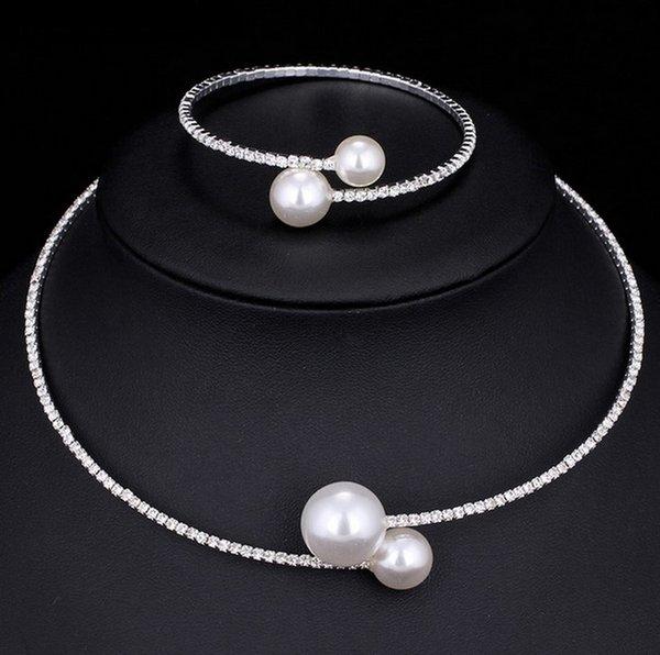 أزياء المرأة مقلد بيرل أساور أساور الفضة سبائك الزنك قلادة أساور قابل للتعديل بيان المجوهرات هدية