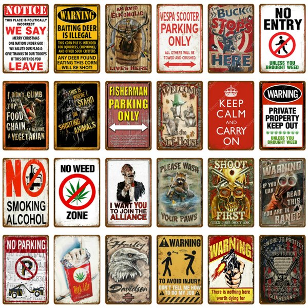 Metal Tin Sign warning no fascism  Decor Bar Pub Home Vintage Retro