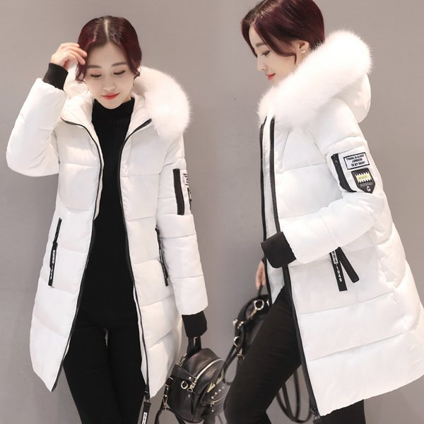 Dicker Grund Jacke Frauen-Winter-Mäntel Baumwollbeiläufiges Kapuze lange Jacke Damen Warmer Winter Outwear Frauen-Mantel Jaqueta Feminina Y190919