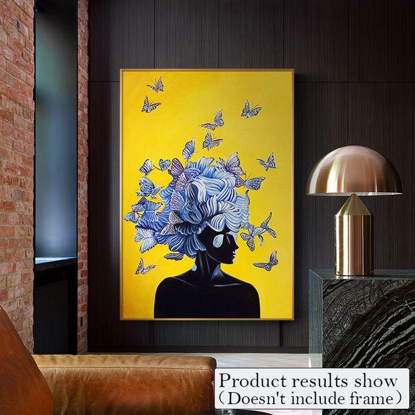 Abstract Girl With Butterfly Canvas Painting Art Wall Pictures For Living Room Moda Azul Amarillo Decoración para el hogar Carteles e impresiones