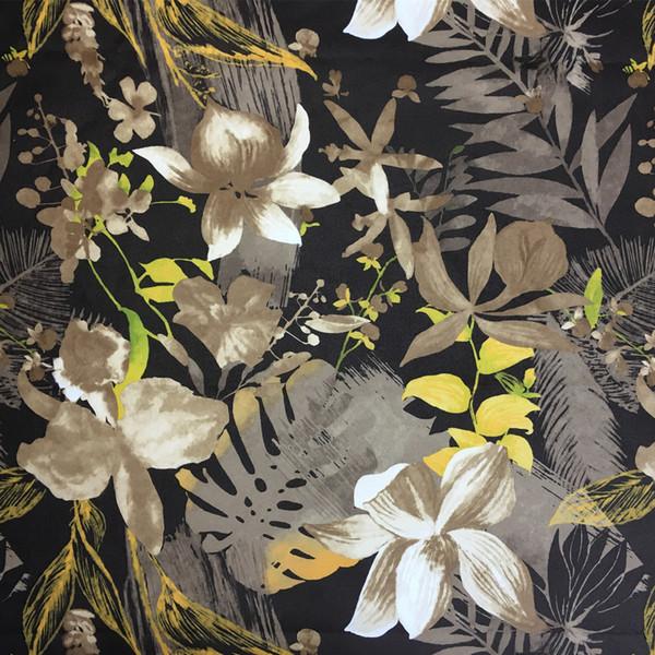 Tropical Flowers Blue Coffee Digital Print Chair Sofa Woven Home Deco Decorative Curtain DIY Garment Pillow Fabrics 140cm Sell by meters