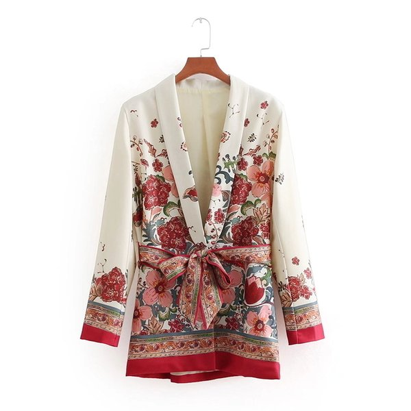 Vintage Women Red Floral Print Kimono Suit Jacket Ladies Waist Bowknot Sashes Outwear Business Casual Slim Coat Ct070