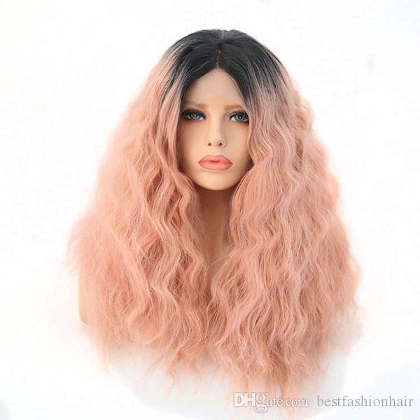 Synthétique Lace Front perruque Ombre Rose Couleur Résistant À La Chaleur Fibre Naturelle Dégradé Vague Eau Racines Foncées Ombre Rose Perruques Synthétiques Pas Cher