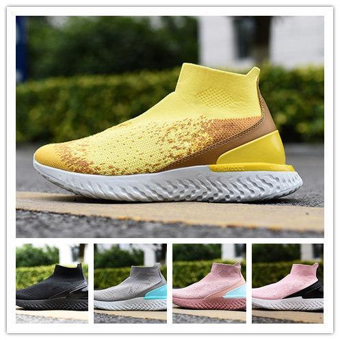 TOP 2019 Rise Reagir Voar Tricô R mulher Sapatos Trovão Cinza Aurora Verde brilhante amarelo triplo mens preto formadores calçados casuais navio da gota